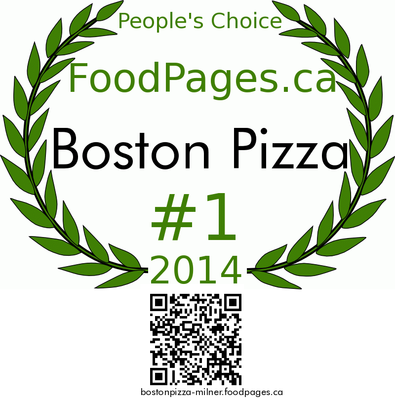 Boston Pizza FoodPages.ca 2014 Award Winner