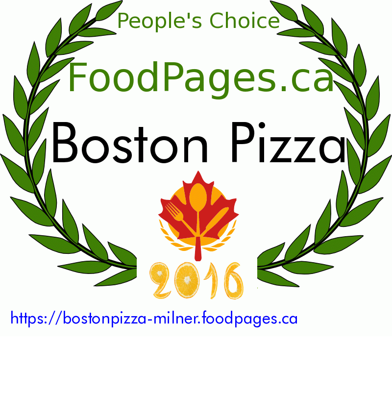 Boston Pizza FoodPages.ca 2016 Award Winner